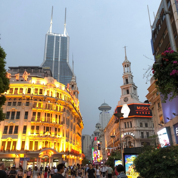 East Nanjing Road in Shanghai lights up after dark